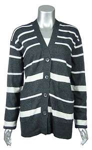 Womens Charcoal/Ivory Cashmere Blend Striped Boyfriend Cardigan L