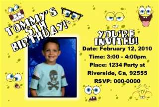 SPONGEBOB BIRTHDAY PARTY INVITATION FAVOR PERSONALIZED FAST AND FREE