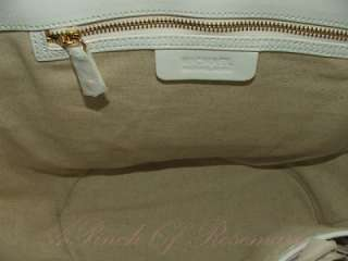 Michael Kors Santorini Straw Patent Leather Large Tote Bag Purse White