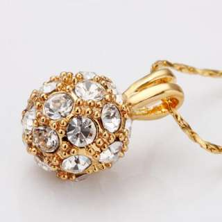N71 18K yellow Gold plated white gem Swarovski crystal ball Necklace
