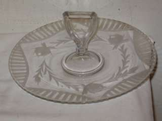 Antique Cut Glass Center Handled Sandwich Server Plate