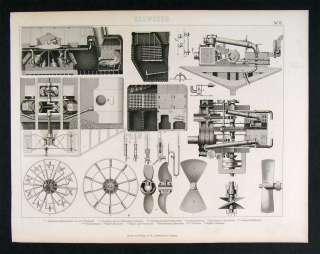 1874 Naval Print Steamship Diagram Engine Works Machine
