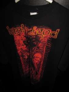 MENS L BLACK LAMB OF GOD USA TEE TOP SHIRT LUCIFER HEAVY METAL CONCERT
