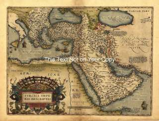 A1 Old Saudi Arabia Turkey Turkish Empire Antique Map