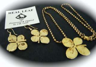 LEAF CLOVER DIPPED IN 24K GOLD EARRING & NECKLACE SET