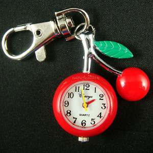 cherry RED key chain Pocket Watch Clock +free gift BOX