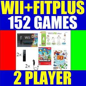BLACK NINTENDO WII CONSOLE SYSTEM+WII FIT PLUS 2 PLAYER 045496880019