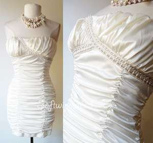 Triangles White Fuax Pearl Embellished Ruched Strapless Party Dress