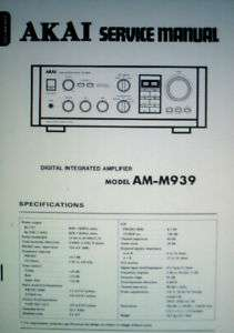 AKAI AM M939 DIGITAL INT AMP SERVICE MANUAL BOUND ENG