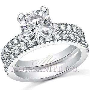 7mm Cushion Moissanite Engagement Ring Wedding Set