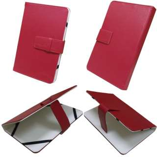 Red Leather Pouch Case for 7 Disgo 7000 Tablet Black Flexible Clip