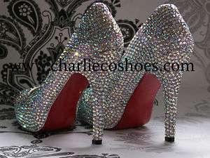 CO. Red Sole Platform AB Diamond Crystal 5 Heels Wedding Bridal Bling