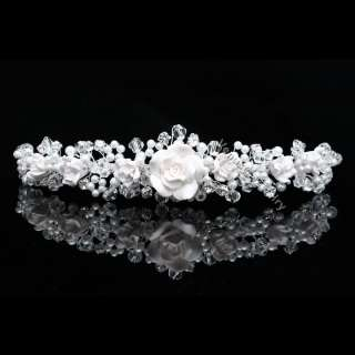 Flower Rhinestone Crystal Beads Pearl Wedding Crown Tiara 9772