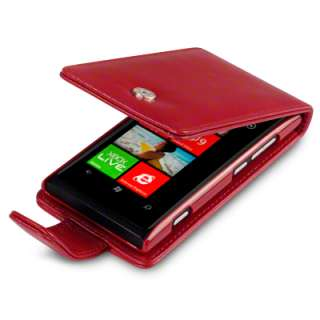 PU LEATHER FLIP CASE / COVER FOR NOKIA LUMIA 800   RED