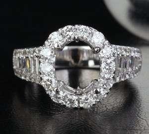 Cut 14K White Gold Channel 1.88CT Diamond Engagement Semi Mount Ring