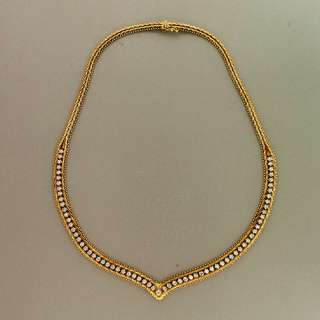 YELLOW GOLD ITALIAN DIAMOND V CHANNEL NECKLACE 2.00CT TOTAL