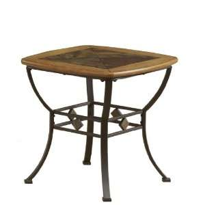 End Table with Wood/Slate Top by Hillsdale   Brown/Medium