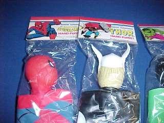 1978 SET FOUR MARVEL SUPERHERO HAND PUPPETS MIP & STORE DISPLAY BOX
