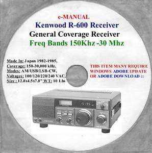 Kenwood R 600 Digital Classic Shortwave Receiver, R 600 Owners Manual