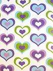 Kids Nursery Retro Love Heart Wallpaper in Green Purple Blue and Pink