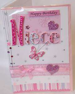PRETTY & PINK 3D HAPPY BIRTHDAY NIECE CARD FREE P&P