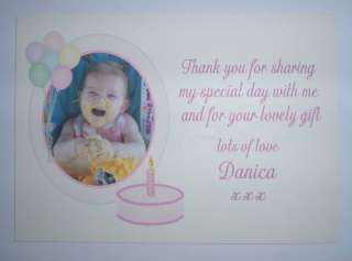 Baby photo 1st Birthday thank you cards x 10 B/G