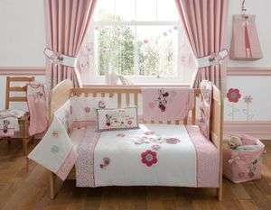 Disney Minnie Mouse Pink Nursery Bedding Curtains Cot Quilt Bumper