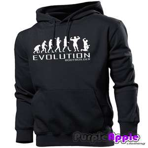 BODYBUILDER GYM APE TO EVOLUTION OF HOODIE HOODY MENS WOMENS BOYS