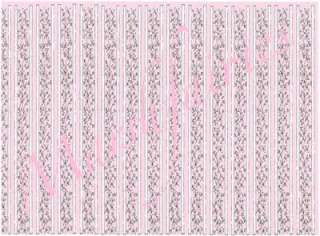 MF 1/12 Dolls House Wallpaper Sml Pink Floral Columns