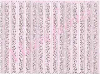 MF 1/12 Dolls House Wallpaper Sml Pink Floral Columns