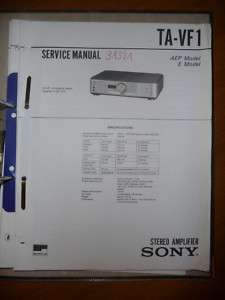 Service Manual Sony TA VF1 Amplifier,ORIGINAL