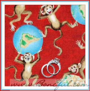 BOOAK Fabric Red Silly Baby 4 Boy Brown Real Monkey World Globe Map