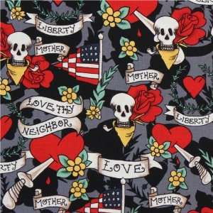 Michael Miller skull fabric Tattoo Love heart roses (Sold in multiples
