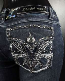 NWT Womens LA IDOL Jeans CAPRI with Crystals & Whip Stitched Fleurs