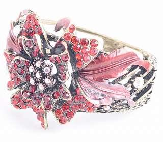 wholesale 6pcs Crystal Flower Gold Bangle Bracelet Br4
