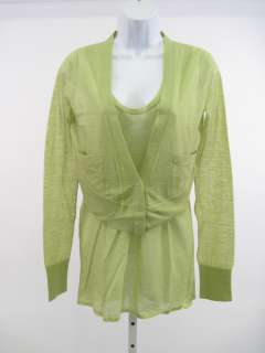 VERA WANG Green Wool Tank Top Cardigan Sweater Set Sz S