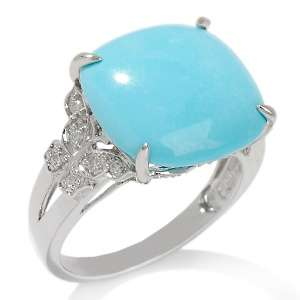 Sleeping Beauty Turquoise and Diamond 14K White Gold Ring