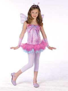 Costume includes drop waist dress with layered tutu skirt, antennae