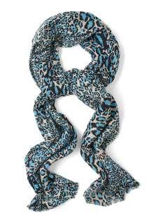 Diane von Furstenberg  Snow Blue Kenley Leopard Print Cashmere Scarf