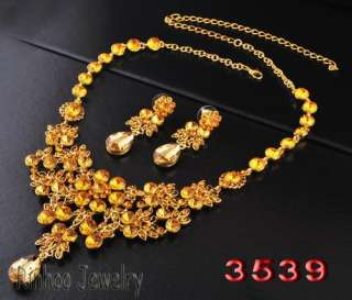 free B30248yellow drop Necklace Earring set gold plated shop