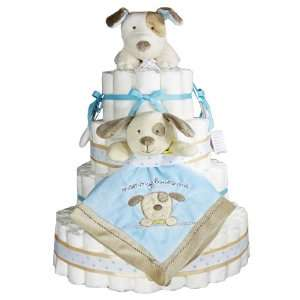 Soft Blue Brown Puppy Diaper Cake Baby