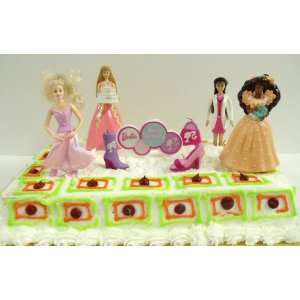 Adorable Barbie Themed Barbie Doll 8 Piece Birthday Cake Topper Set