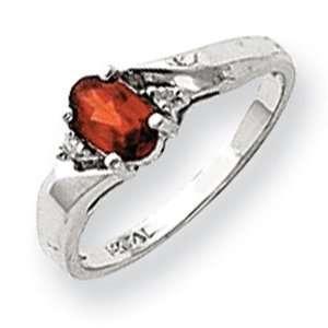 Garnet Diamond Birthstone Ring in 14k White Gold (0.02 Ct