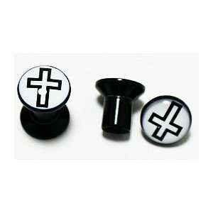 Black Acrylic Ear Plugs with Black and White Cross (2g)   Body Jewelry