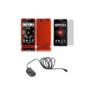 RAZR MAXX (Verizon) Premium Combo Pack   Orange Hard Shield Case Cover