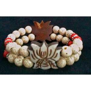 Lotus Seed Bracelet with Yak Bone Carved Lotus: Everything Else