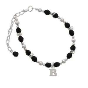 com Small Silver Initial   B Black Czech Glass Beaded Charm Bracelet