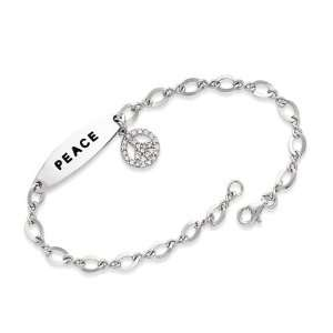 Silver 7.5in Small CZ Hanging Peace Symbol Charm Bracelet Jewelry
