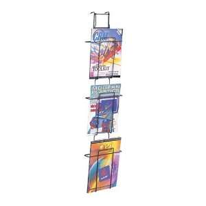 Wired Wall Mount Magazine Display Rack, 3 Pockets, 9W x 5
