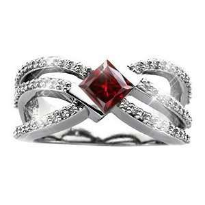 Crown Princess Cut 14K White Gold Ring with Fancy Deep Red Diamond 3/4